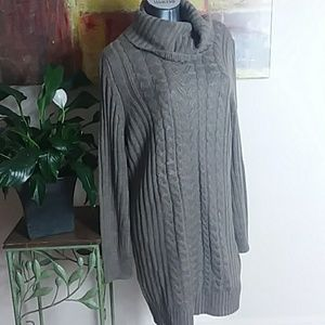 RD STYLE cowl neck cable knit sweater dress